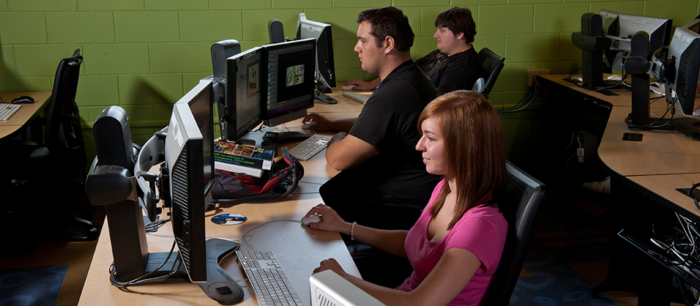 Design & Media Production students in the digital media lab using computers