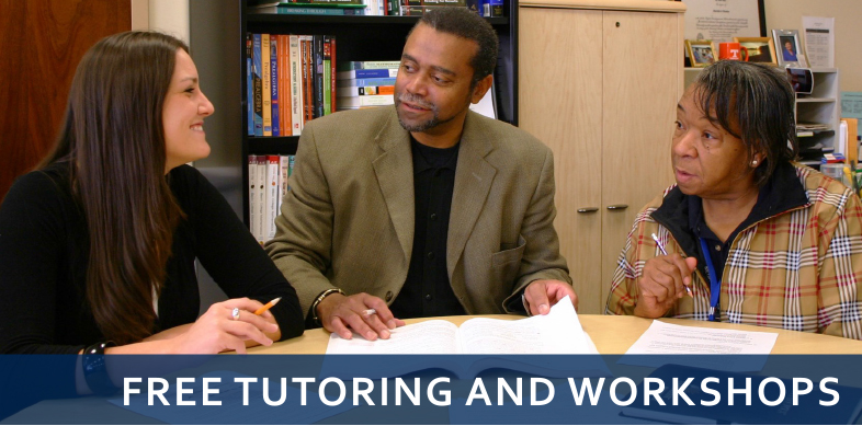 Tutoring and Workshops - image of tutor with two students