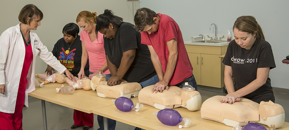 Medical Assisting students in classroom working with CPR Manikins.