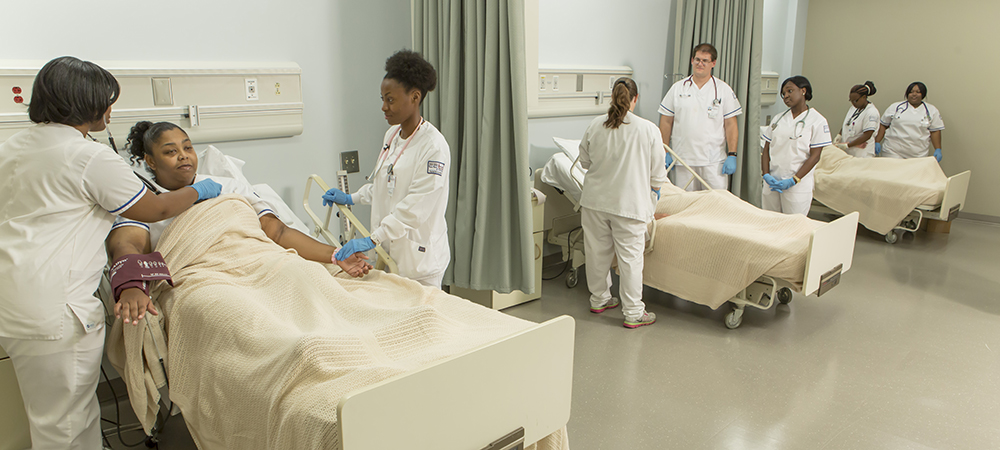 Nursing students in the CGTC Nursing program lab.