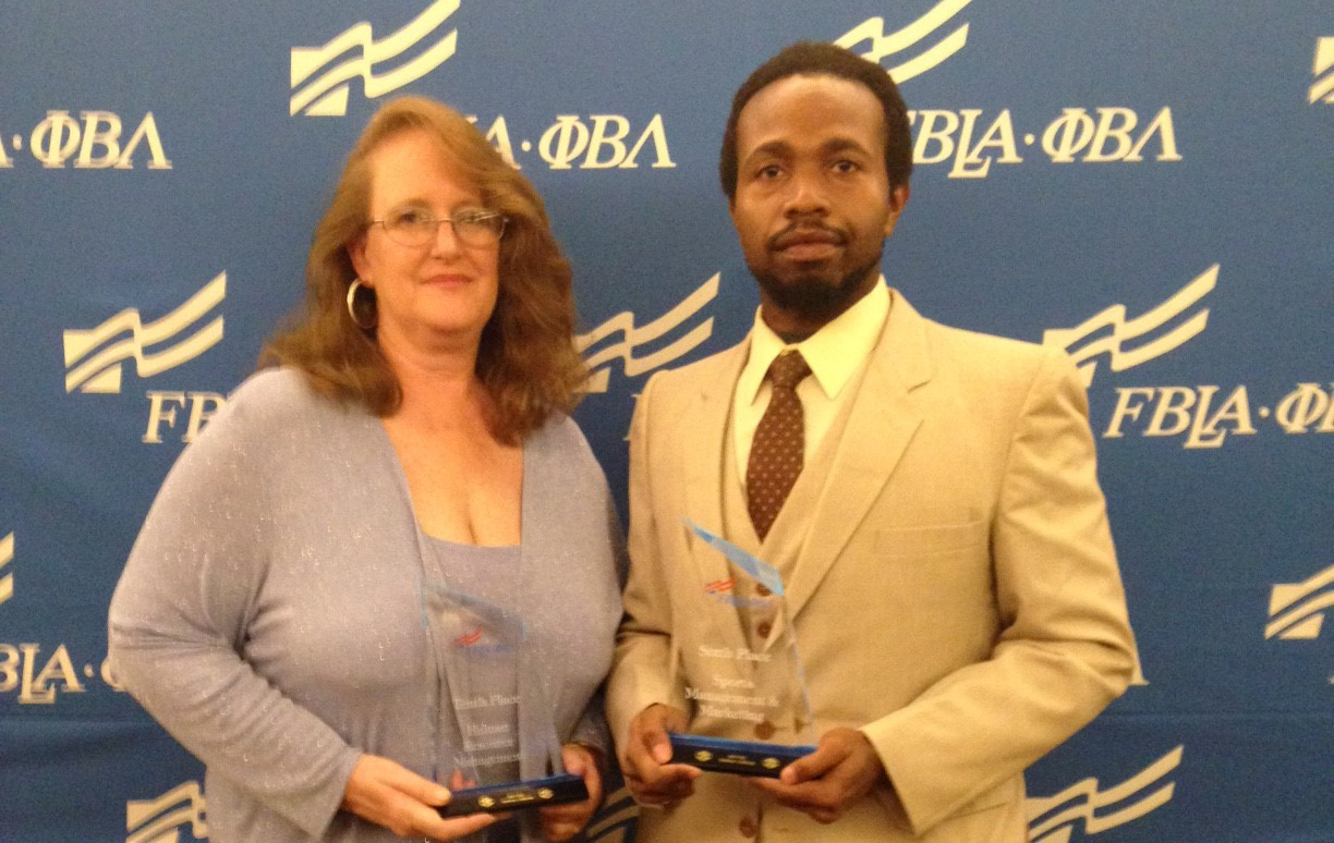 CGTC's Phi Beta Lambda Chapter's Sondra Jeffries, a Business Management student, and Jarvis Jackson, a Metrology student and first-year member show off their awards from competing in the PBL National Leadership Conference titled, Legacy of Leadership, held June 24-27 in Anaheim.
