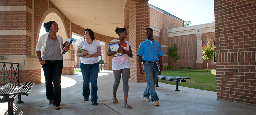 Students walking on Macon Campus