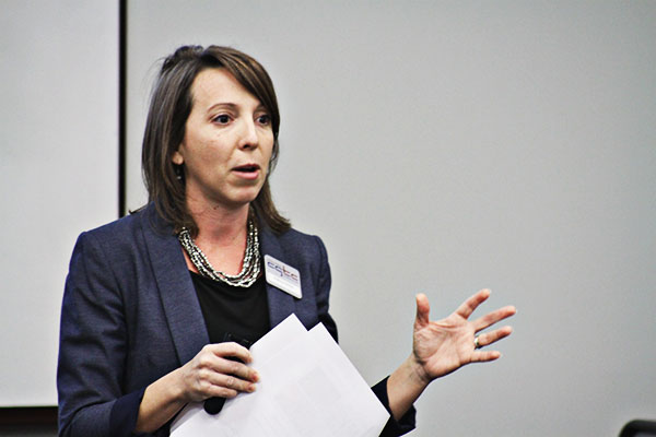 Vice president of Economic Development at CGTC, Andrea Griner, highlights the success of Economic Development in 2017 to members of OneMacon. 2017 Figures from Economic Development show at total of 334 companies received customized training, totaling 1,319,499 training hours, the most of any institution in the Technical College System of Georgia (TCSG).