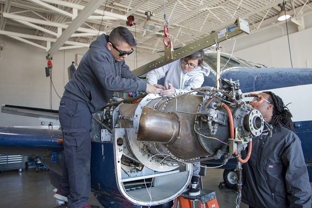 Students work on aircrafts at CGTC's Warner Robins Campus. The Aviation Maintenance Technology program reached its 20th Anniversary in March.