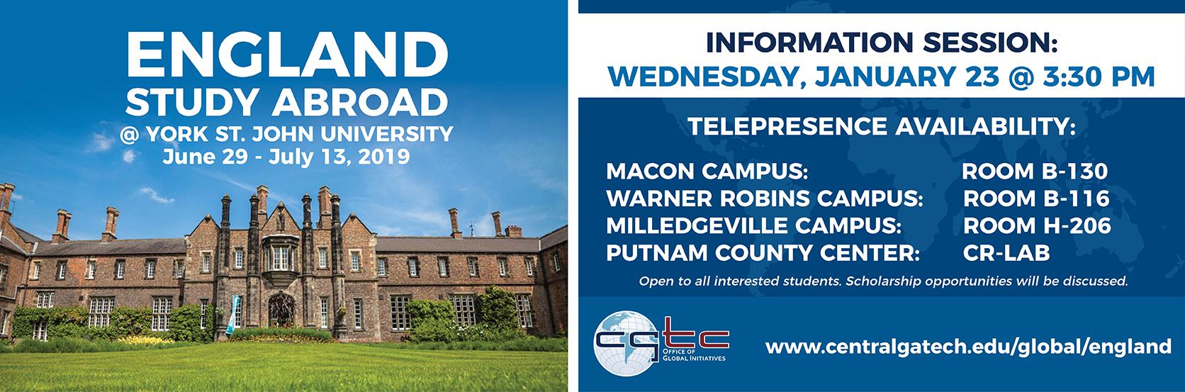 England Study Abroad | York St. John University | June 29-July 13, 2019