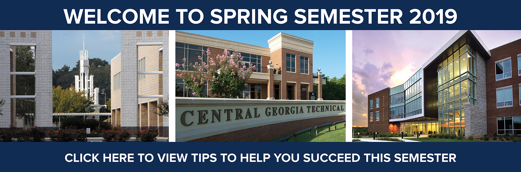 Welcome to Spring Semester 2019! Click the image to access tips to help you succeed this semester.