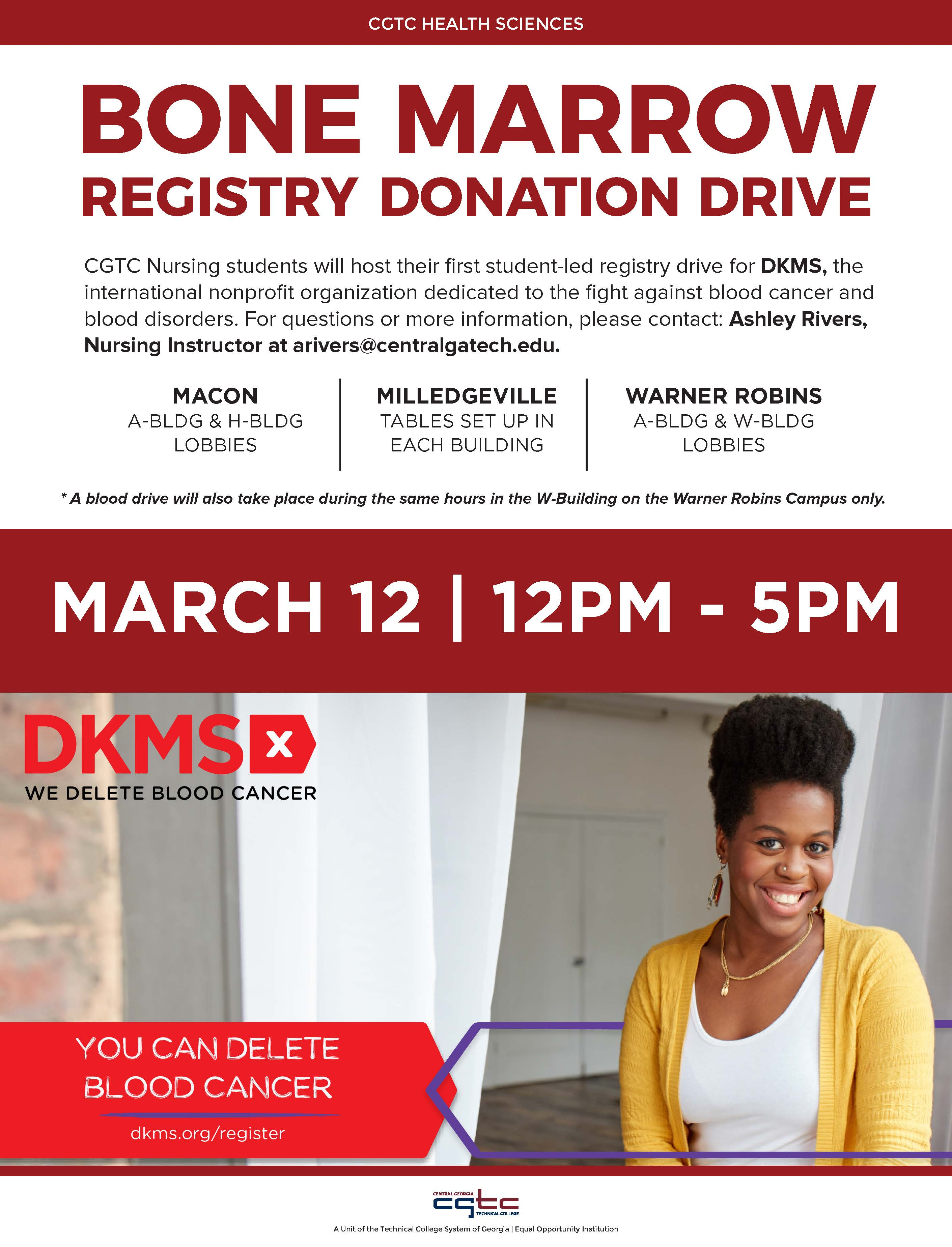 Infographic for upcoming bone marrow registry drive at CGTC.