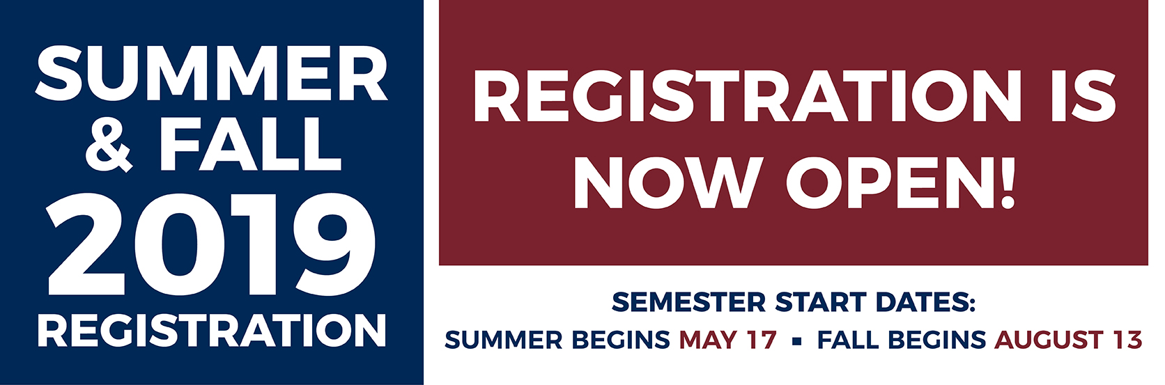 Registration Tile. Registration is open for current and returning students for Summer and Fall. Speak with an advisor today