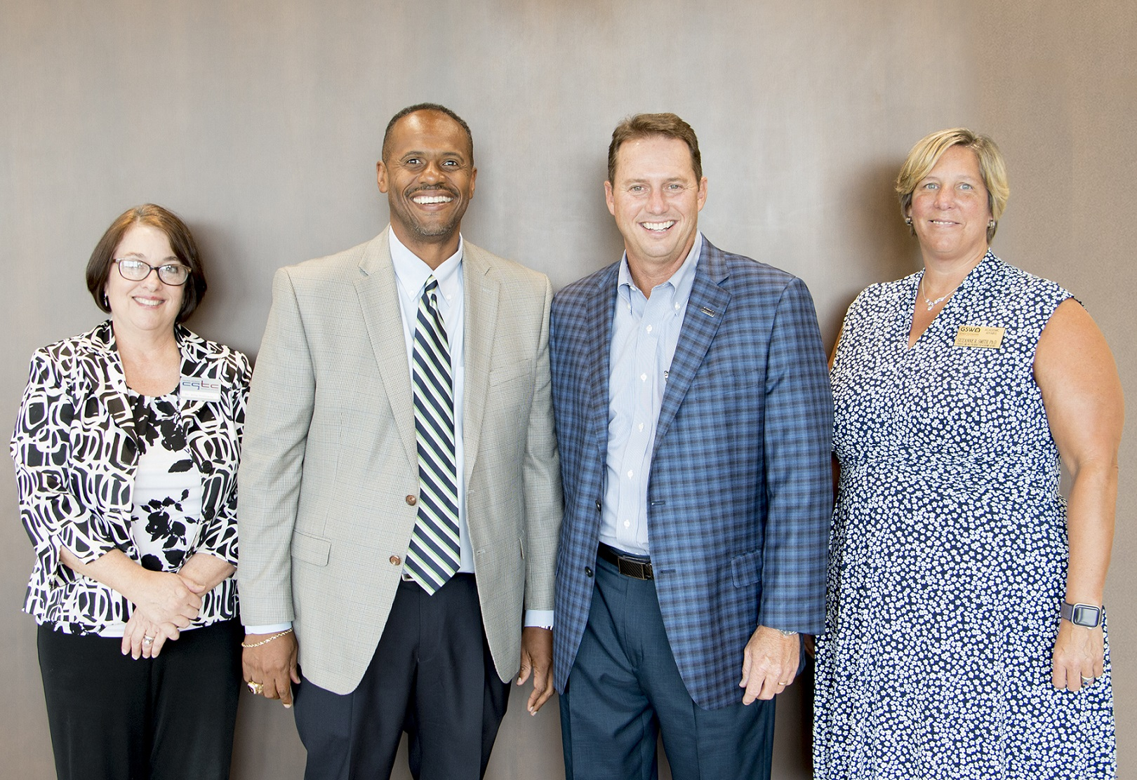 (From left to right) Dr. Amy Holloway, vice president of Academic Affairs at CGTC and Dr. Ivan H. Allen, president of CGTC, join GSW president, Dr. Neal Weaver, and Dr. Suzanne R. Smith, provost and vice president for Academic Affairs, following the signing of the two agreements.
