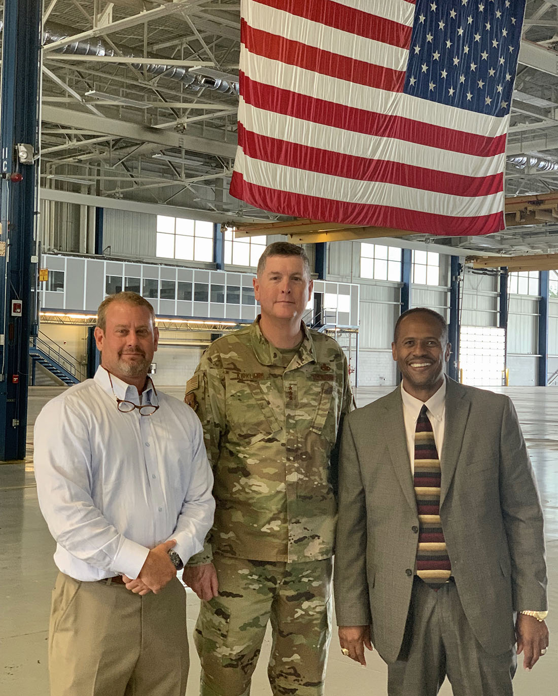 """(Pictured left to right) Robbie Fountain, chairman of the Macon-Bibb County Industrial Authority, Lt. Gen. Donald E. """"Gene"""" Kirkland, Commander, Air Force Sustainment Center (AFSC), Air Force Materiel Command, and Dr. Ivan H. Allen, president of Central Georgia Technical College."""