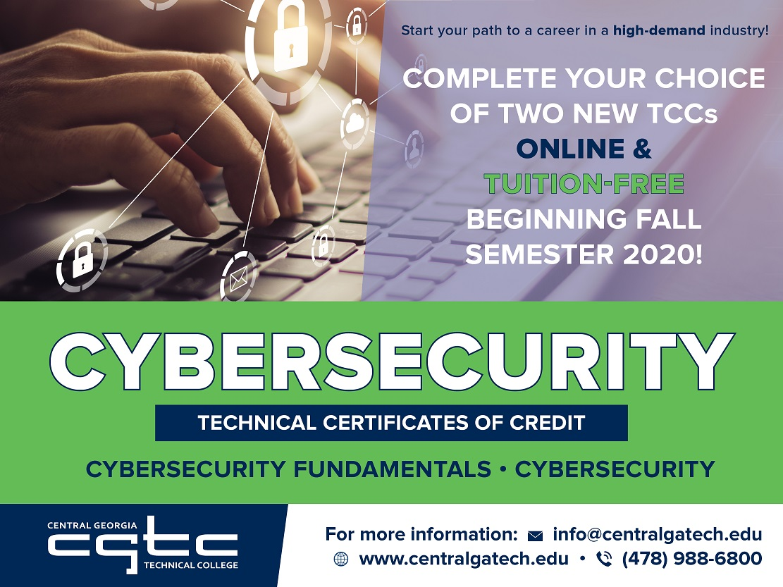 New Online Cybersecurity Certificate Programs Being Offered During CGTC  Fall Semester | Central Georgia Technical College