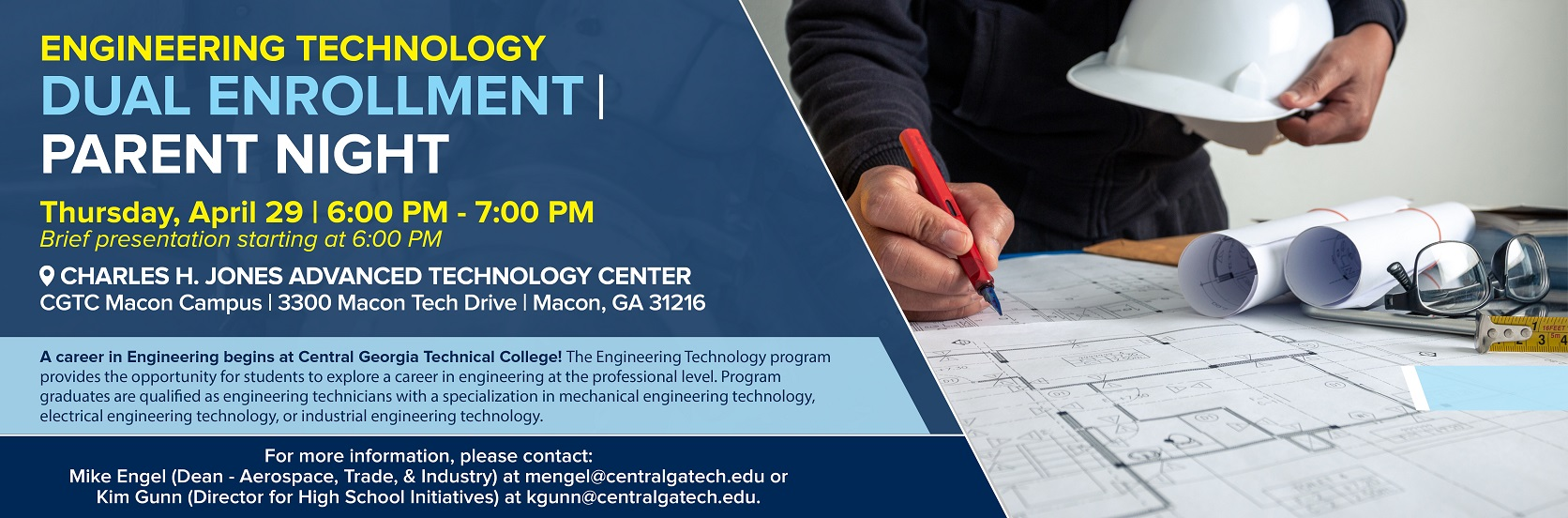Dual Enrollment Engineering Technology Parent Night. Tuesday, April 29, 2021.