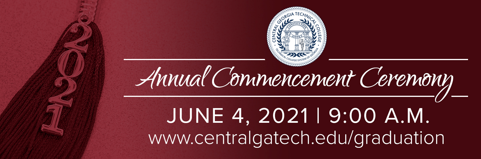 The 2021 CGTC Commencement Ceremony will take place June 4, 2021 at 9:00 a.m..Click for more information..