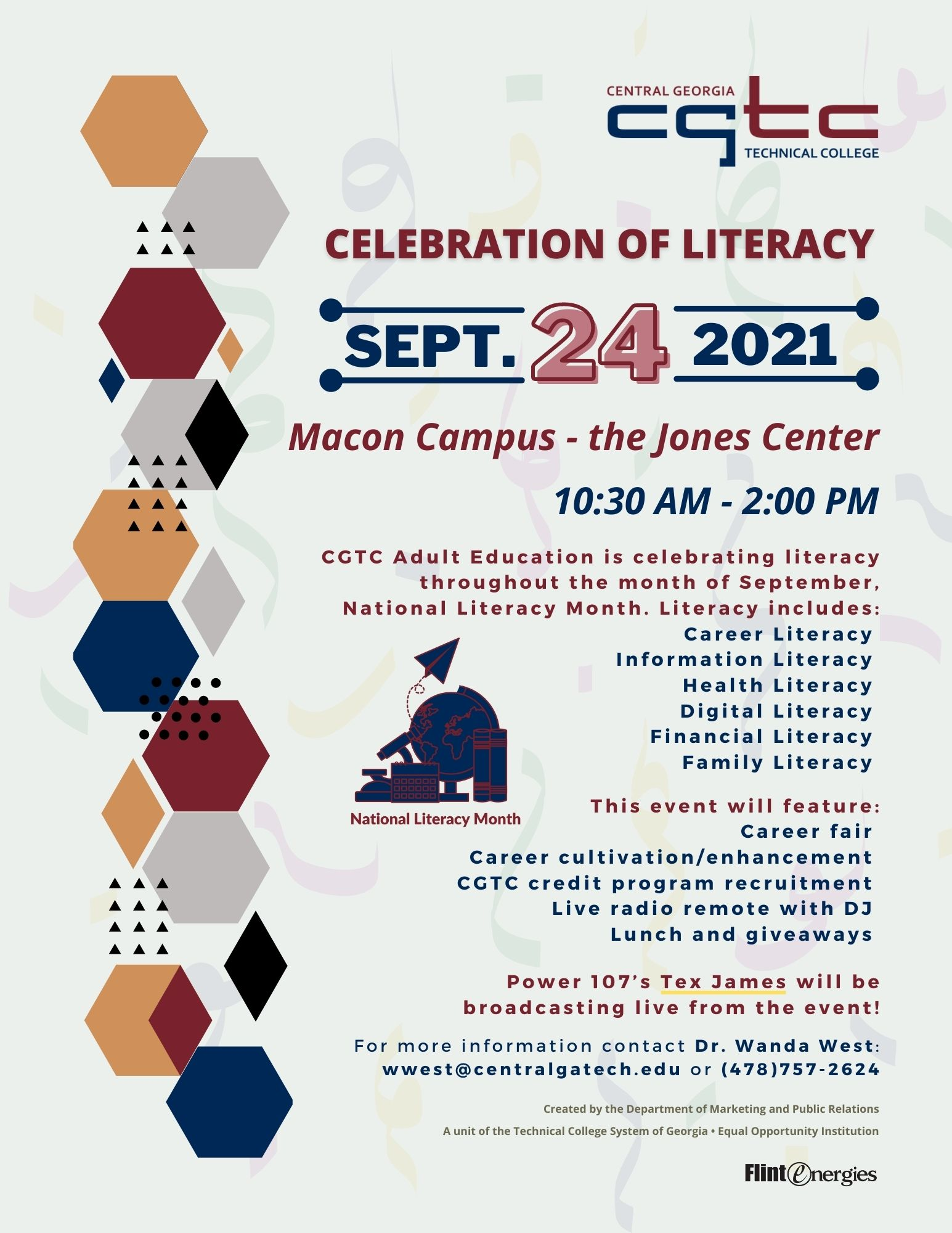 The Central Georgia Technical College (CGTC) Adult Education Division (AED) is celebrating National Literacy Month with its Celebration of Literacy event on September 24, 2021 at the Jones Center of the College's Macon Campus on 3300 Macon Tech Dr., from 10:30 a.m. to 2:00 p.m.