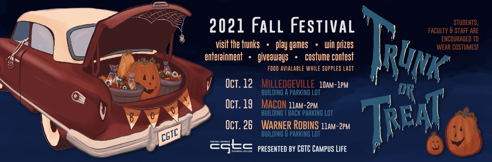 Campus Life Presents the 2021 Fall Festival on October 12 in Milledgeville from 10 a.m. to 1 p.m., October 19 in Macon and October 26 in Warner Robins from 11 a.m. to 2 p.m. .