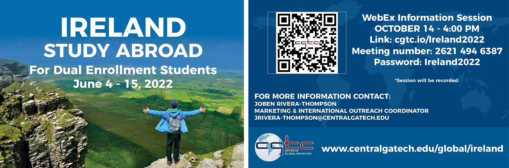 Ireland Dual Enrollment Study Abroad information session is Thursday October 14 at 4 p.m. via WebEx.